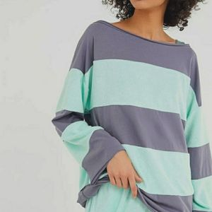 UO OUT FROM UNDER Oversized Stripes Cotton Top XS